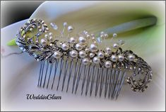 Victorian Vintage Style Bridal Hair Comb, Vintage Wedding Hairpiece, Bridal Hair Accessories, Wedding Hair Comb, Pearl Rhinestone comb