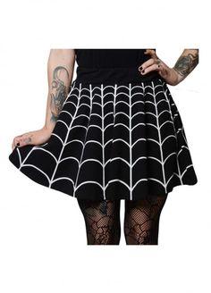 Kreepsville 666 Web White Skater Skirt   Attitude Clothing
