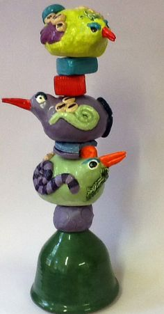 The Rare Moss Gathering Black Eye Pea Bird a by WhimsicalTotems, $195.00