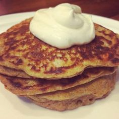 Gluten free, low sugar chai-spiced carrot cake pancakes with citrus cream cheese. A breakfast for champions!