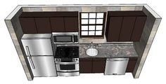 Small One Wall Kitchen by kbulsara13 - 3D Warehouse draw on other side of dishwasher