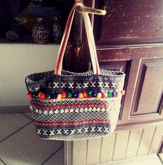 moroccan tote bag, special carpet tissue, with decorations of small coins and coloured pompom by weloveboho on Etsy