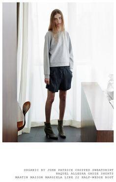 Organic by John Patrick Cropped Sweatshirt Raquel Allegra Gauze Shorts Martin Margiela Line 22 Half-Wedge Boot