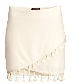 H&M Fringe Skirt in Natural White