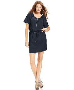 MICHAEL Michael Kors Dress, Short-Sleeve Scoop-Neck - Womens Dresses - Macy's