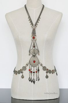 Body Chain With Turkmen Pendant And Coins Tribal by Gekajewellery