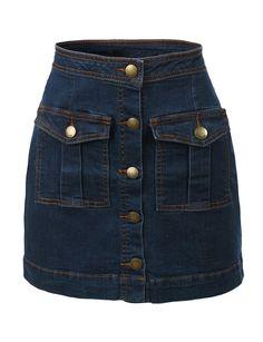 LE3NO Womens Vintage Denim A-Line Button Down Mini Skirt (CLEARANCE)