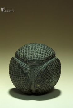 Carved Stone Ball © University of Aberdeen. dated between 3200 and 1500 BCE (5200 and 3500 years ago). There have been many of these found mostly from the Neolithic period
