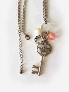 Handmade Charm Necklace Key with pearl and salmon by Five17Designs, $18.00