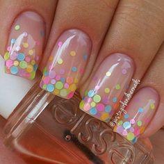 Colorful Polka Dots on Nude Nail Polish. (via forcreativejuice.com) #nailart