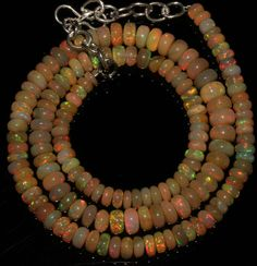 """66 Crts 1 Strands 4 to 6 mm 16"""" Beads necklaceEthiopian Welo Fire Opal  AA+++999"""