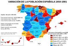 Variación de la población española entre 1950 y 1981 - Evolución demográfica moderna de España - Wikipedia, la enciclopedia libre