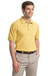 Polo Shirts: 3 wood-tone buttons on a clean-finished placket with reinforced bottom box and double-needle bottom hem