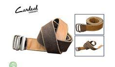 Cardeal concept : couro capri castor estonado - fita cadarço café - fivela metal ônix com passador duplo