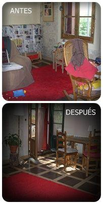 Transformación sin gastos en salón de una casa en Cercedilla