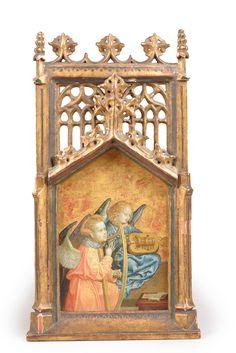 Attribué au Maître du retable de saint Barthélemy (vers 1450-vers 1510), Anges musiciens, vers 1510,  peinture sur fond or, 26 x 17 cm.  Estimation : 90 000/110 000 € Dimanche 24 septembre, Louviers.  Prunier OVV.