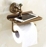 Amazon.com: AUSWIND Antique Brass Toilet Paper Holder with Phone Holder Cover, Brass Carved Green Diamond Wall Mount Bathroom Accessory: Home & Kitchen