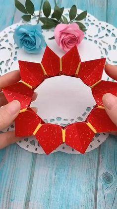 Paper Flowers Craft, Paper Crafts Origami, Paper Crafts For Kids, Diy Crafts Hacks, Diy Crafts For Gifts, Creative Crafts, Instruções Origami, Oragami, Origami Ideas