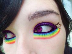 rainbow makeup/ Halloween makeup This would be cute for Nyan cat costume - hairideazhairideaz Nyan Cat Costume, Cat Costumes, Costume Ideas, Halloween Costumes, Make Up Looks, Creative Makeup, Simple Makeup, Beauty Makeup, Eye Makeup