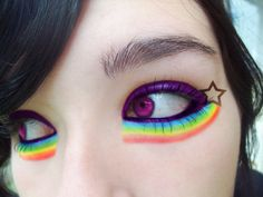 rainbow makeup/ Halloween makeup This would be cute for Nyan cat costume