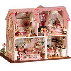 Freeshipping diy pink sweetheart handmade gift Lights diy handmade villa-in Model Building Kits from Toys & Hobbies on Aliexpress.com