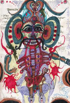 "A work done by Noviadi Angkasapura. The artist was born in Indonesia in 1979 and lives in Jakarta. 24 drawings of him are presented in the webgallery ""www.outsider-art-brut.ch"", where about 800 works of 40 Artists can be admired."