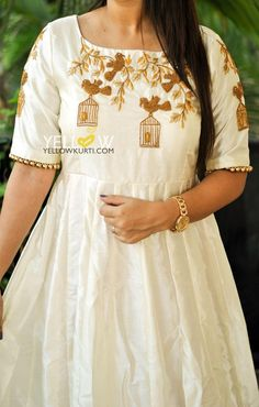 Customised Off white and gold classic combination Silk gown with bird cage creepers embroidery. 19 May 2017 Embroidery On Kurtis, Kurti Embroidery Design, Embroidery Dress, Bird Embroidery, Beaded Embroidery, Embroidery Stitches, Churidar Designs, Silk Kurti Designs, Kurti Designs Party Wear