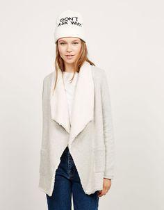 Fur lined draped coat - Coats and jackets - Bershka Romania