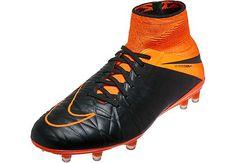 Nike Hypervenom Phantom II Leather FG  Soccer Cleats - Black and Orange