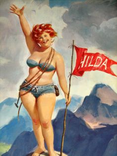 Hilda is the creation of illustrator Duane Bryer.  She is an irrepressible force of nature, a mirthquake of epic proportions.    Hilda is a nymph of the free spirit, dwelling in a world composed entirely of the cottage garden, fishing hole, seaside, and pastures surrounding her ramshackle cabin. Hilda represents the true spirit of the dotty garden lady. She is the patron saint of all true Dirty Ladies.