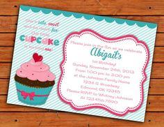 Cupcake First Birthday Themed Invitation  5x7  by pdotprintables, $10.00
