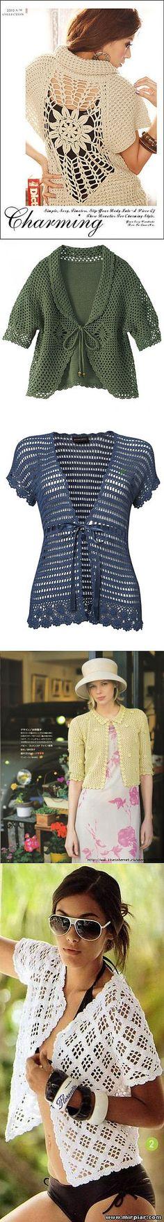 liveinternet.ru Crochet Jacket, Crochet Cardigan, Crochet Shawl, Knit Crochet, Crotchet Dress, Shrugs And Boleros, Crochet Clothes, Pull, Crochet Patterns