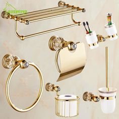 Solid brass crystal bathroom accessories