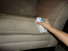 Amazing!  How to Clean Microfiber Couches DIY...  All you need is is rubbing alcohol, a neutral colored sponge & a small scrub brush w neutral colored bristles (so colors won't transfer)!