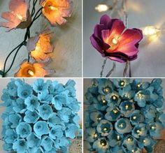 Lichterketten basteln mit Blüten aus Eierkarton