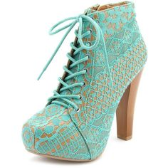 Vintage Lace Lace-Up Heel Bootie ($50) ❤ liked on Polyvore