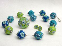 Froschkönig  necklace,ring and earring,  frog, fimo, beads, arcilla, Polymer Clay Kette Perlen - De... von filigran-Design   auf DaWanda.com