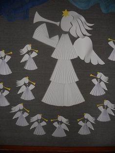 andělský chór Kids Crafts, Advent, Christmas, Cards, Handmade, Color, Black, Grandparents, Cut Outs