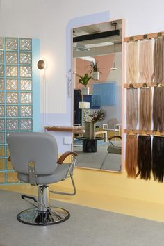 Canadian interiors office Studio Roslyn has created a Vancouver hair salon designed to invoke the mood of 1980s Miami, complete with candy-coloured furniture and nostalgic art deco features. Miami Art Deco, Hair Salon Interior, Pastel Walls, Art Deco Hair, Interior Windows, Office Interiors, Deco Interiors, Salon Design, Colorful Furniture