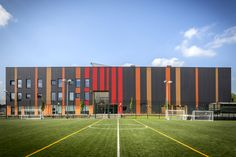 EQUITONE has been used to clad a RIBA award-winning Academy in inner-city Birmingham. Data Architecture, Factory Architecture, Colour Architecture, Industrial Architecture, Architecture Details, Building Elevation, Building Facade, Building Design, Fasade Design