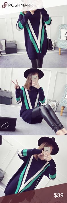 """Mid-long V fitted knit sweater Material: acrylic and cotton blended Measurement: length: 30.3"""" bust: 37-38"""" around, sleeve length-18.5"""" shoulder to shoulder- 19.8 Sweaters"""