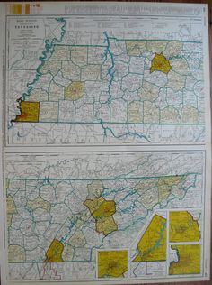 Rare TENNESSEE Map of Tennessee With RAILROADS by plaindealing
