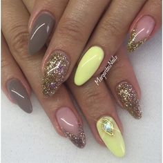 Pastel Yellow & Earl Grey  by MargaritasNailz from Nail Art Gallery