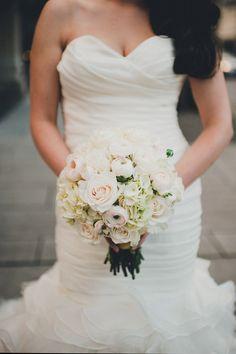 great gown/bouquet combination, photo by Carina Skrobecki http://ruffledblog.com/seattle-escala-wedding #weddingdress #bouquets #flowers