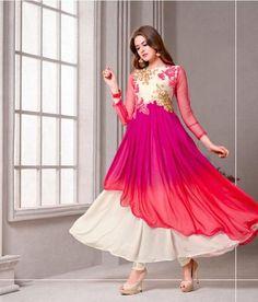 Pink, Orange & White Georgette Salwar Kameez ,Indian Dresses - 1