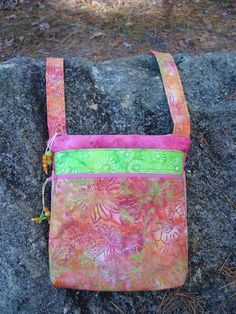 Pink Orange and Green Floral Quilted Purse by Jackiesewingstudio