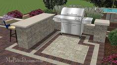 "Gorgeous Bar + Grill Station Combo for Grills up to 60"" Wide.  Easy Stack and Glue Installation.  Download Installation Plans at MyPatioDesign.com"