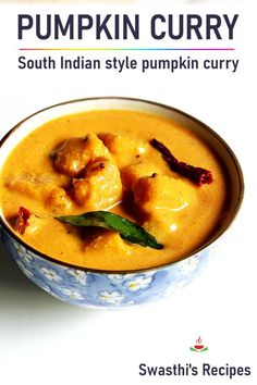 Pumpkin curry or pumpkin kootu is a delicious South indian dish made with golden pumpkin, lentils, coconut & spices. Garlic Recipes, Curry Recipes, Vegetarian Recipes, Cooking Recipes, Spicy Recipes, Cooking Tips, Healthy Recipes, Indian Food Recipes, Essen