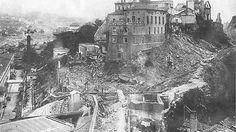 Vista parcial do Morro do Castelo com as obras de sua demolição em andamento.