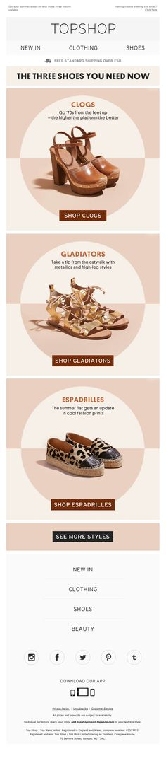 Topshop Email - Email Template - Ideas of Email Template - Topshop Email Email Design Inspiration, Layout Inspiration, Print Layout, Layout Design, Web Design, Propaganda E Marketing, Email Layout, Shoe Poster, Email Newsletter Design